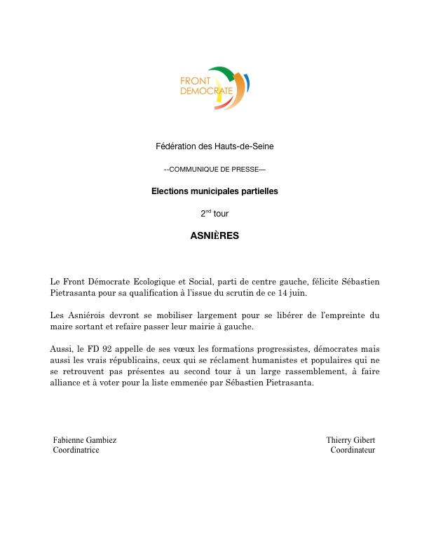 FD 92 - Asnières - Elections municipales partielles 2015 - Communiqué de presse - 14 juin 2015