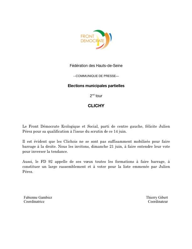 FD 92 - Clichy - Elections municipales partielles 2015 - Communiqué de presse - 14 juin 2015