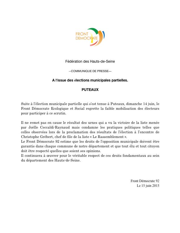 FD 92 - Elections municipales partielles 2015 - Communique- de presse - 15 juin 2015