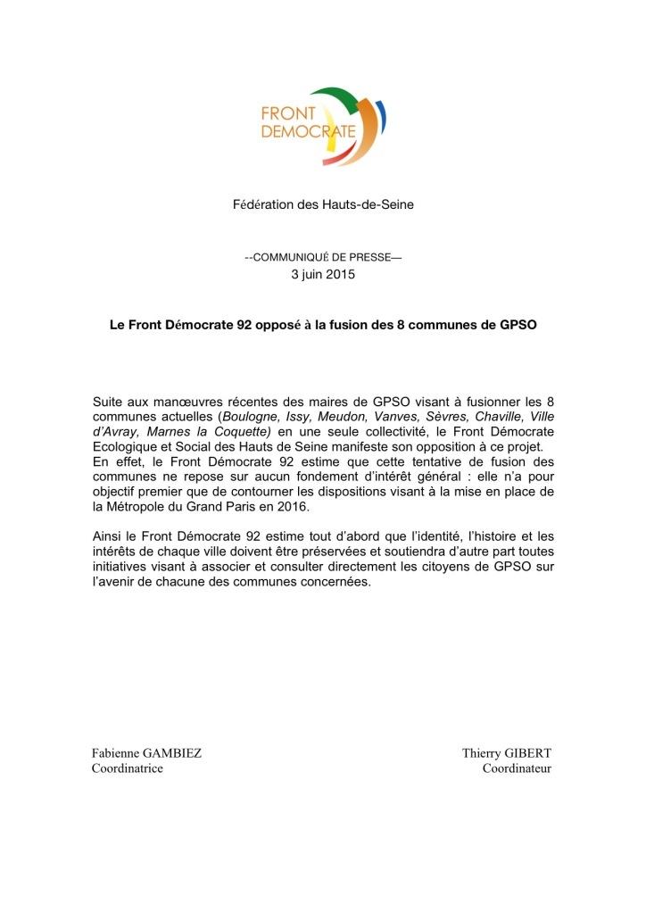 FD 92 - Le Front Démocrate 92 opposé à la fusion des 8 communes de GPSO - Communiqué de presse - 4 juin 2015