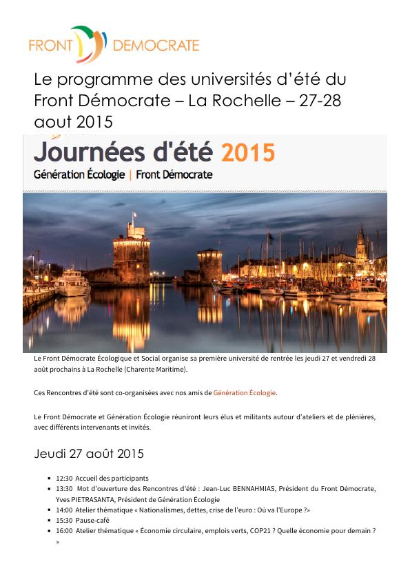 Le programme des universités d'été du Front Démocrate – La Rochelle – 27-28 aout 2015 , Front Démocrate