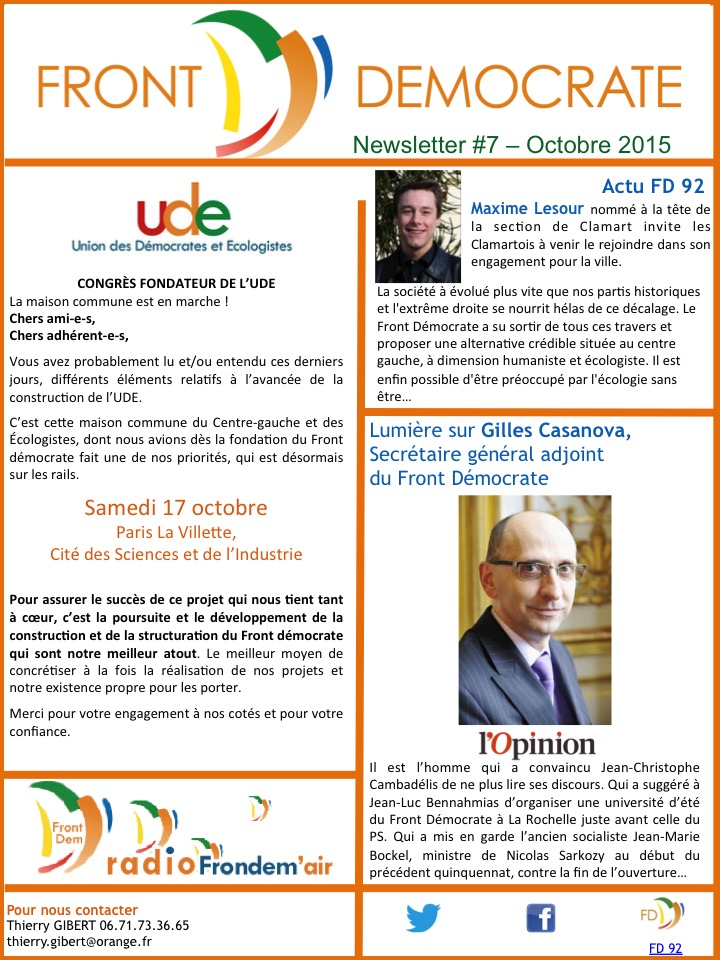 Newsletter #7 - Octobre 2015
