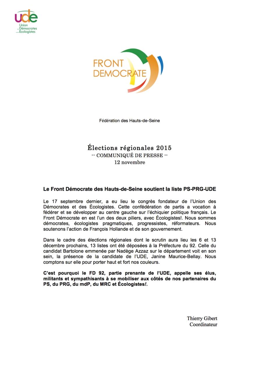 FD 92 - Régionales 2015 - Communiqué de presse - 12 novembre 2015