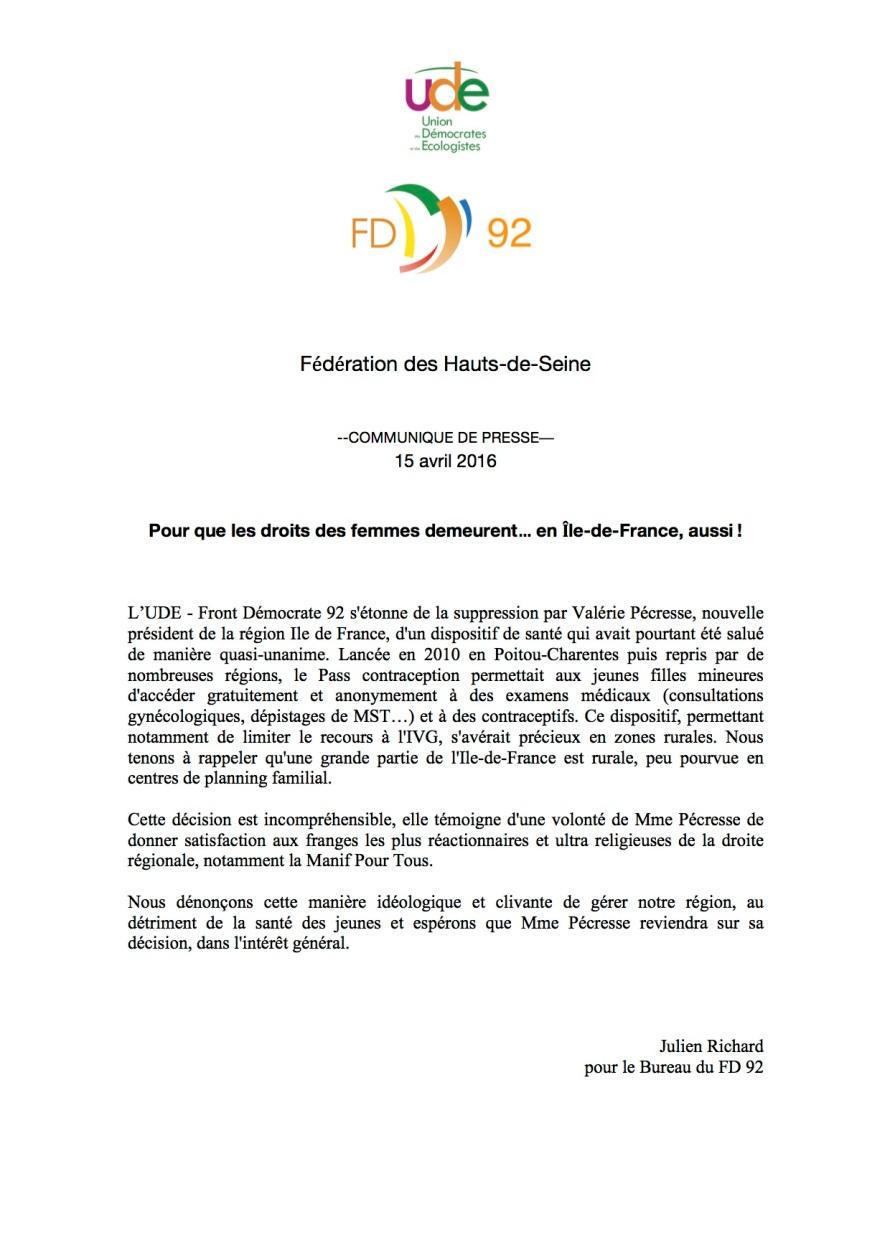 UDE - FD 92 - Pass Contraception  - Communiqué de presse - 15 avril 2016