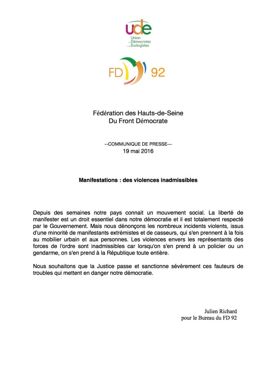 UDE - FD 92 - Justice face aux casseurs - Communiqué de presse - 19 mai 2016