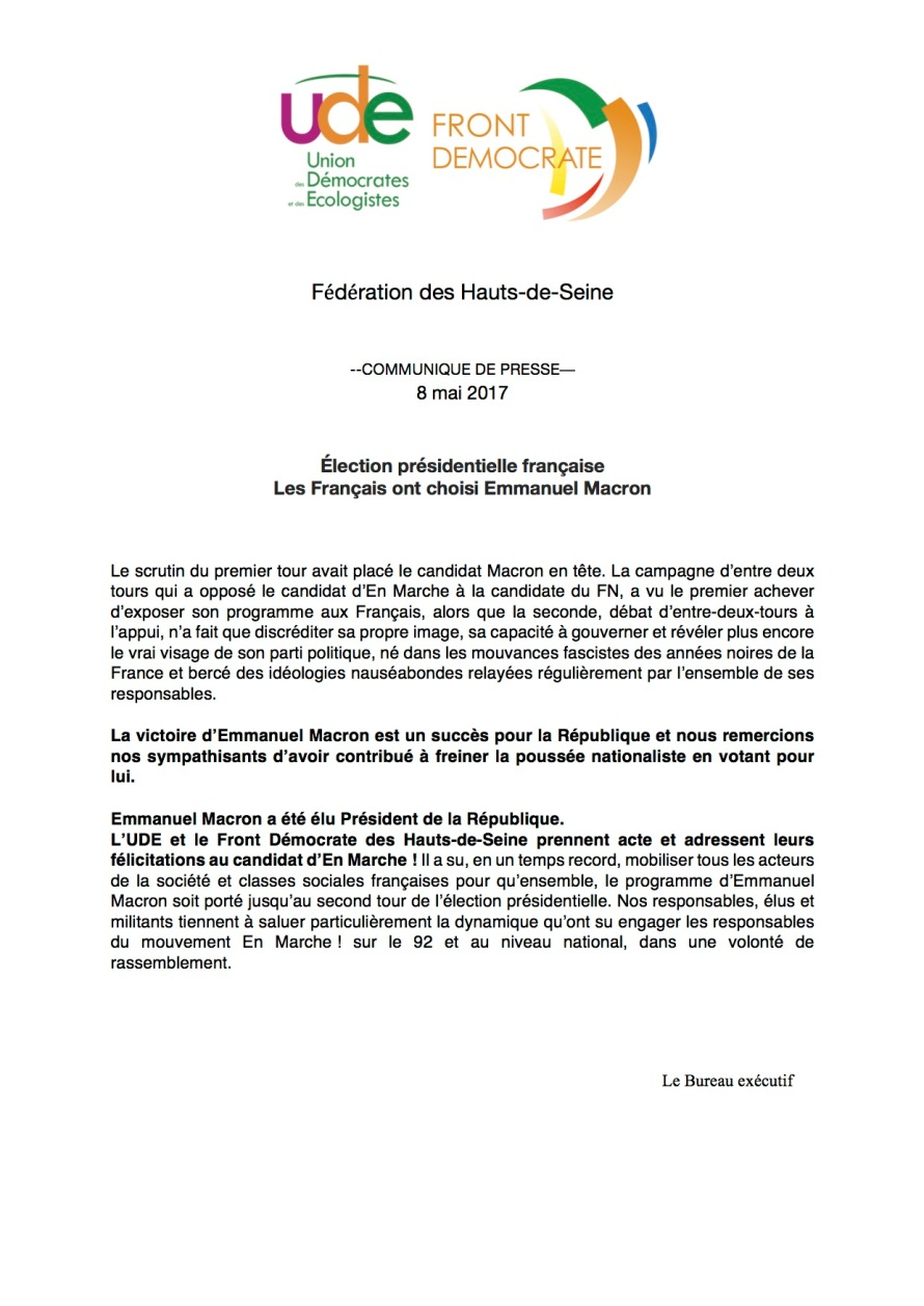 Communiqué UDE - FD 92 - E. Macron, président.